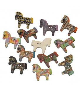 100 Botones de madera con forma de caballo
