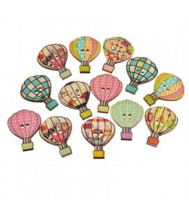 100 Botones de madera con forma de globo aerostático