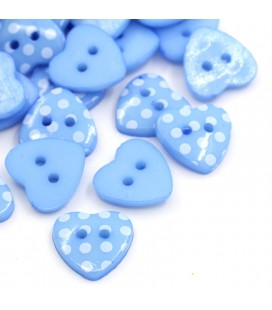 100 Botones de resina - Corazones de lunares - Azul
