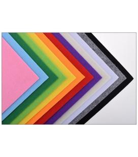 Set 12 láminas de fieltro de colores - 30x30 cm - Grosor: 3mm