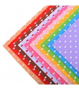 Set de 10 de planchas de fieltro estampado de corazones de 15x15cm