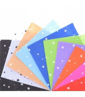 Set de 10 de planchas de fieltro estampado de estrellas de 15x15cm