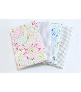 Lote de 4 telas de algodón - Floral Círculos - Patchwork - Costura - Fat Quarters