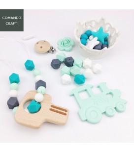 Set cuentas de silicona y accesorios de madera - Mordedores - Portachupetes - Bebés