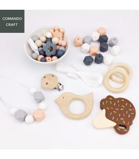 Set cuentas de silicona y accesorios de madera - Mordedores - Portachupetes - Bebés - Lote natural