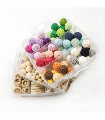 Caja DIY con cuentas de madera y cuentas de crochet para joyería y manualidades