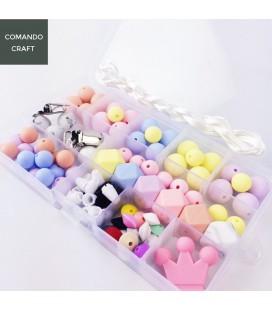 Set de bolas y cuentas de silicona - Mordedores  y collares de lactancia - Mod. 8