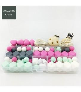 Conjunto de bolas y cuentas de silicona - Mordedores  y collares de lactancia - Mod. 9