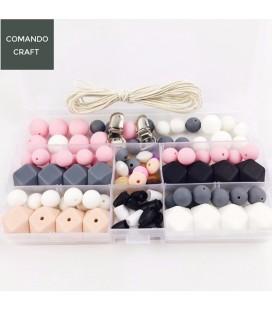 Conjunto de bolas y cuentas de silicona - Mordedores  y collares de lactancia - Mod. 10