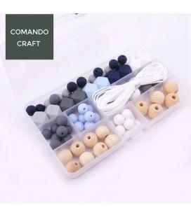 Conjunto de bolas y cuentas de silicona y madera - Joyería para bebés - Mod. 11