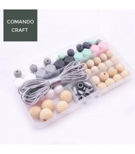 Conjunto de bolas y cuentas de silicona y madera - Joyería para bebés - Mod. 12