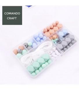Conjunto de bolas y cuentas de silicona alimenticia - Mordedores  y collares de lactancia - Mod. 13