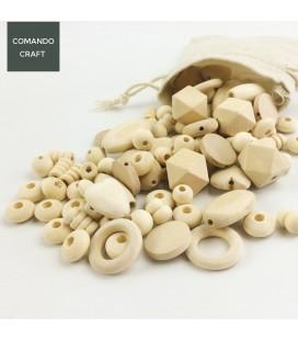 Lote de cuentas mezcladas de madera para manualidades y fabricación de objetos para bebés y regalos