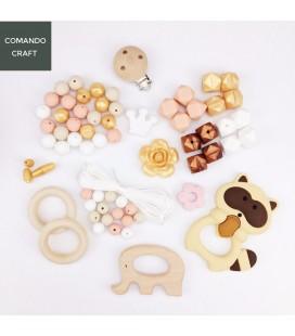 Set cuentas de silicona y accesorios de madera - Mordedores - Portachupetes - Bebés - Lote 4