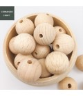 Lote de cuentas redondas de madera para manualidades y fabricación de objetos para bebés y regalos