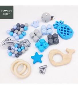 Set de cuentas de silicona y accesorios de madera - Mordedores - Montessori - Bebés - Lote 5