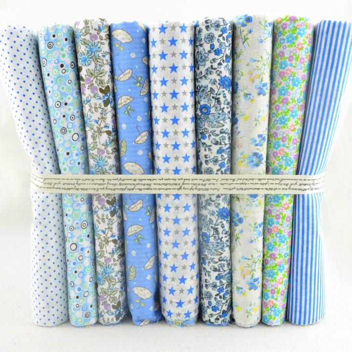 Conjunto de 9 telas de diseños de color azul para patchwork, costura y scrapbook